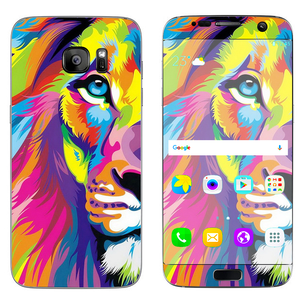 Skins Decals For Samsung Galaxy S7 Edge / Colorful Lion Abstract Paint
