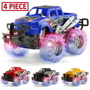 MAPIXO 4 Pack 4 Colors Light Up Monster Truck Set with Flashing LED Wheels, Best Gift for Boy and Girl Age 3+ Years Old. Push n Go Car, Monster Car Toy for Kids Child Toddler Birthday Part