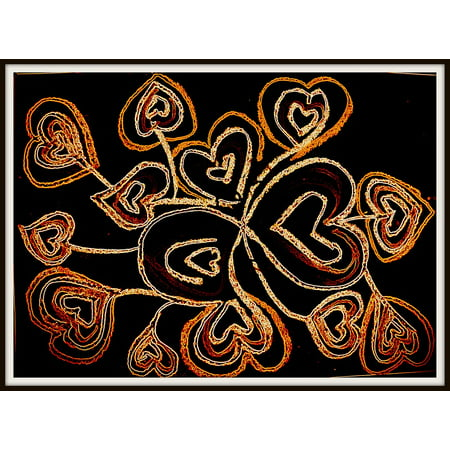 Canvas Print Romance Digital Love Heart Drawing Oil Paints Stretched Canvas 10 x 14