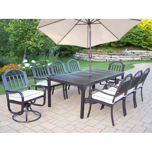 Red Barrel Studio Lisabeth Dining Set with Cushions and Umbrella