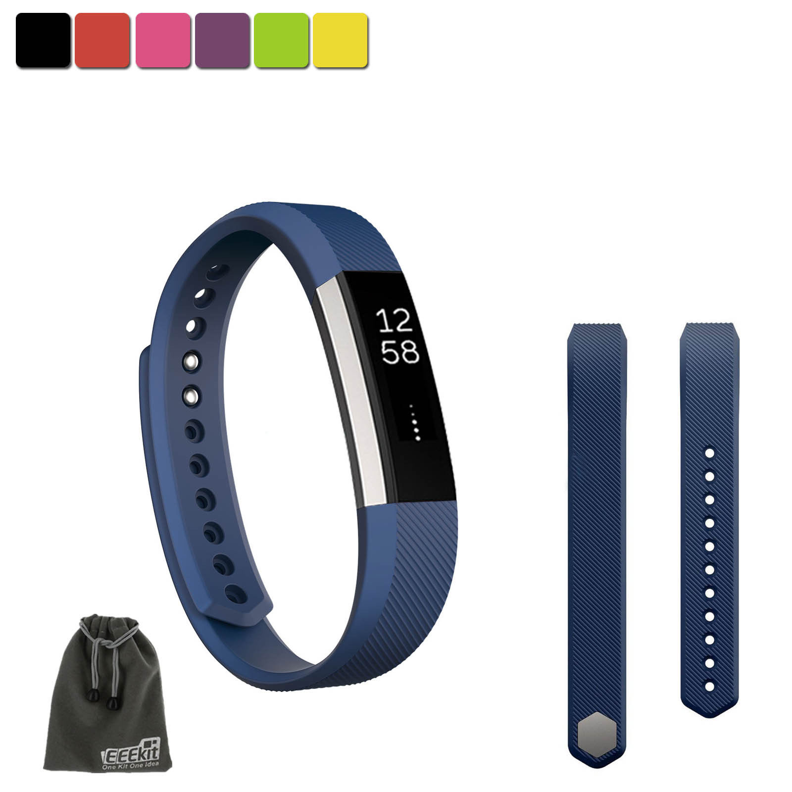 EEEKit SMALL S Size Silicone Replacement Sports Watch Wrist Band Strap w/ Clasp for Fitbit Alta(Deep Blue)