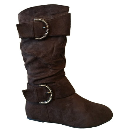 New Girls Slouch Comf Tall Midcalf Suede Winter Boots Shoes (Toddler/Little Kid/Big Kid) (Brown-Bela-4