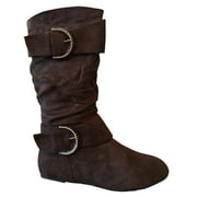 New Girls Slouch Comf Tall Midcalf Suede Winter Boots Shoes (Toddler/Little Kid/Big Kid) (Brown-Bela-4 Toddler)