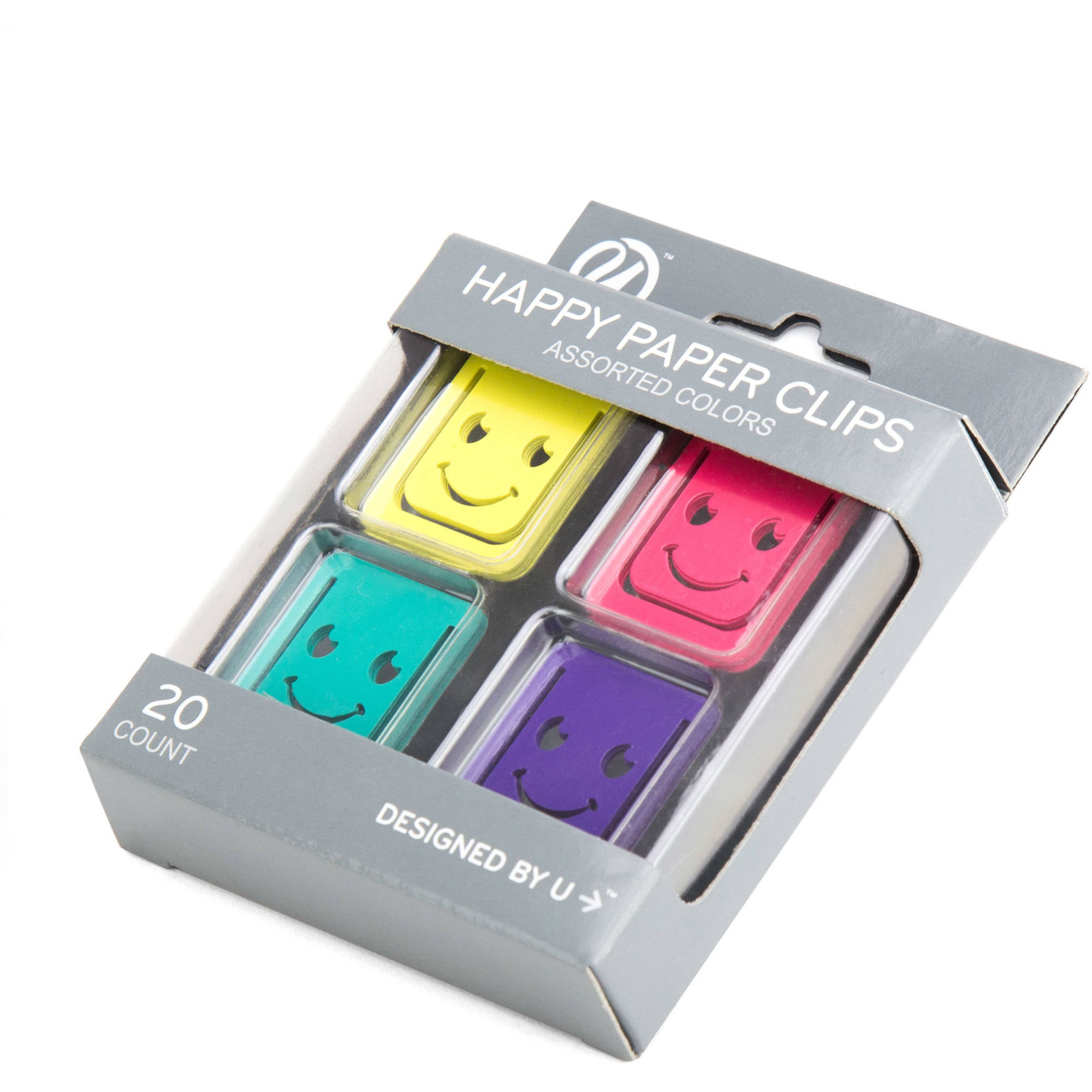 (2 Pack) U Brands Paper Clips, Happy Face Print, Assorted Colors, 20-Count