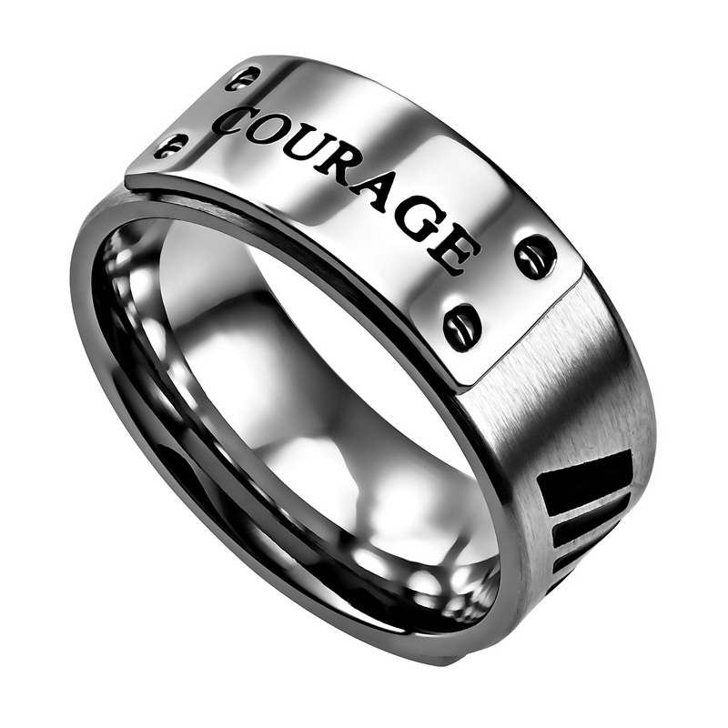 Ring-Luxury Band-Courage-Silver (Mens)-Sz  9