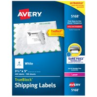 "Avery Shipping Labels, Sure Feed, 3-1/2"" x 5"", 400 Labels (5168)"