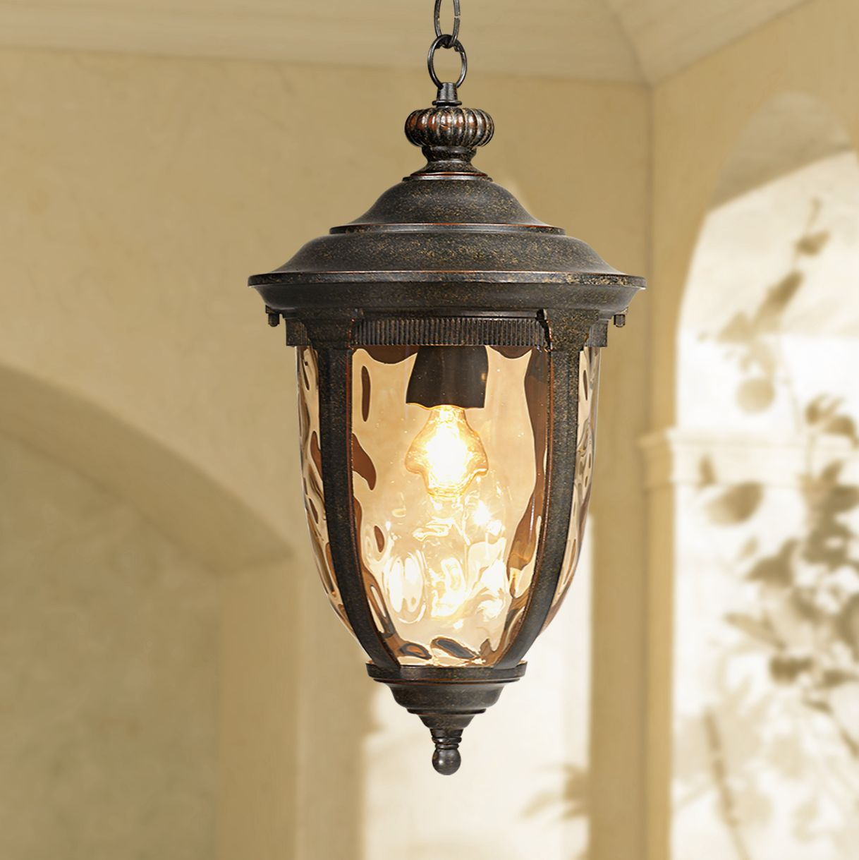 Rustic Outdoor Ceiling Light Bronze 18
