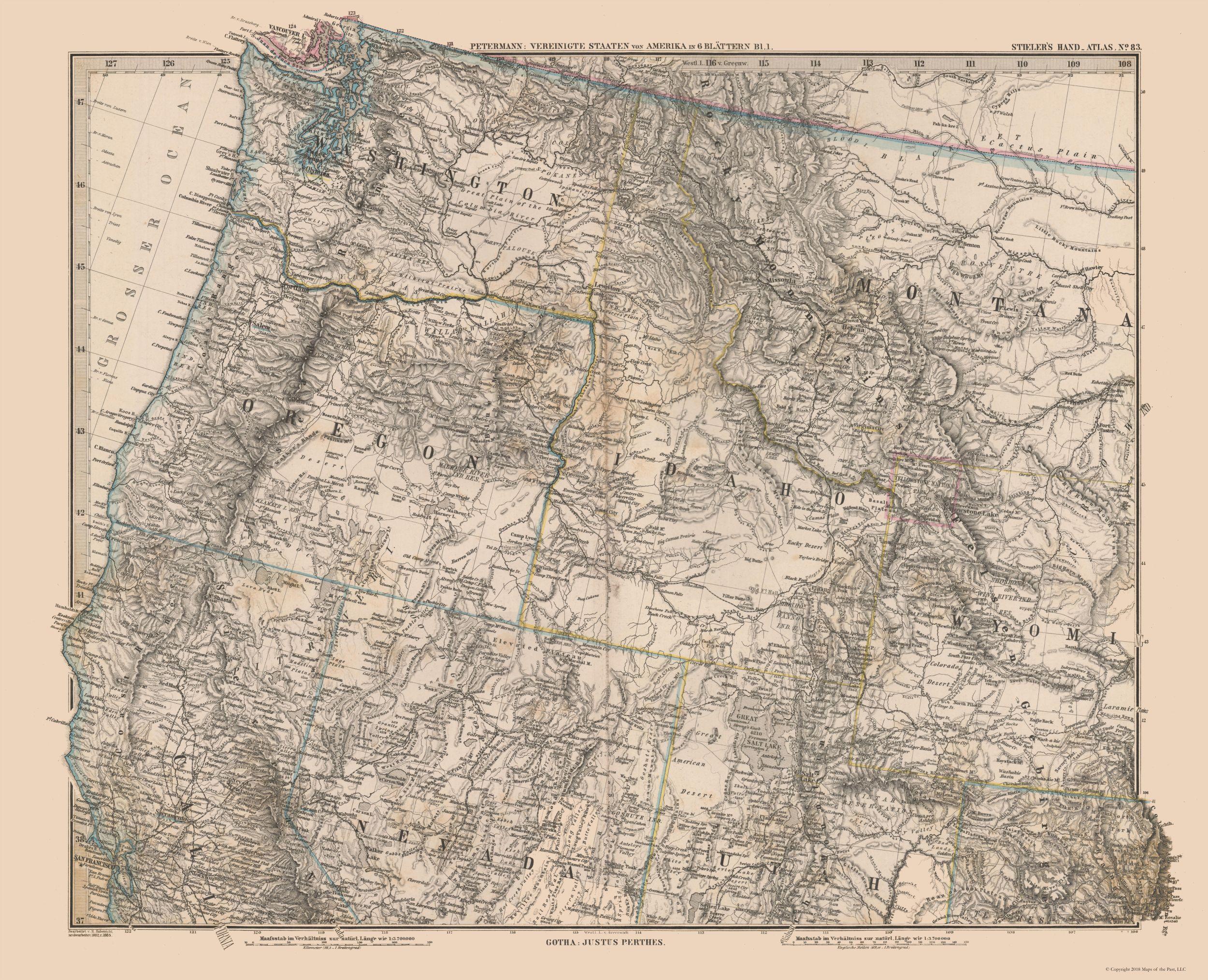 Old United States Map Northwest United States Stielers 1885