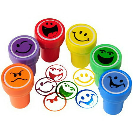 - US TOY MX455 Smiley Face Ink Stampers - 6 Pieces