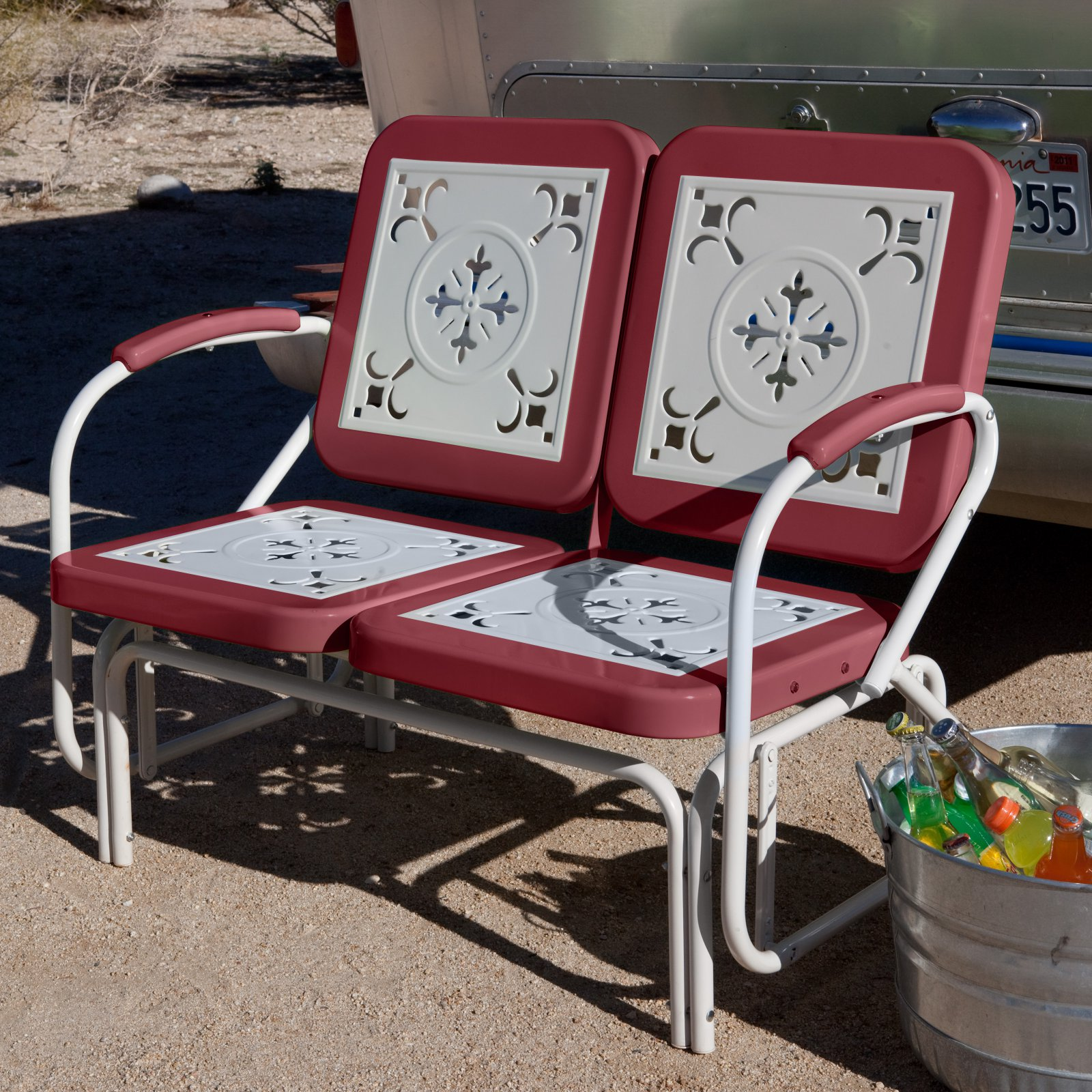 Coral Coast Paradise Cove Retro Metal Outdoor Glider Loveseat by Chi Wing Rattan Factory