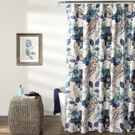 Floral Paisley Shower Curtain Blue