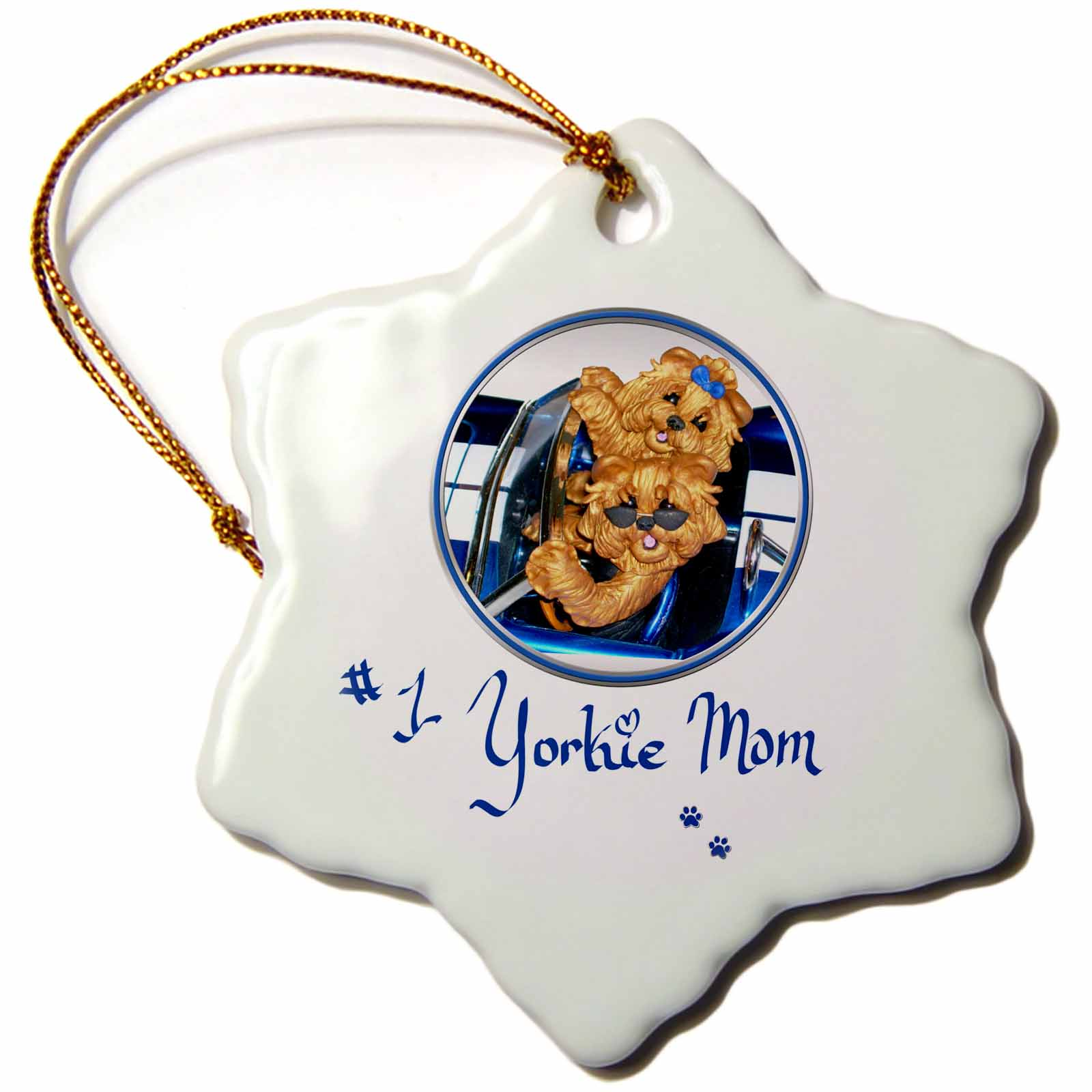 3dRose Cute Number One Yorkie Yorkshire Terrier Mom Art , Snowflake Ornament, Porcelain, 3-inch