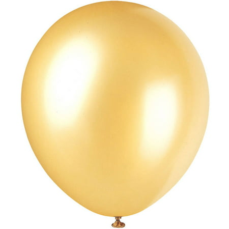 Latex Pearlized Balloons, Gold, 12in, 8ct