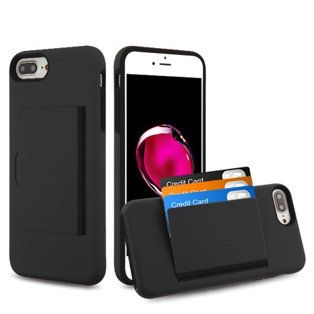 Apple iPhone 8 Plus, 7 Plus Wallet Phone Case Ultra Protective Cover with 3 Cedit Card ID Holder Slot [Slim] Heavy Duty Shockproof Hybrid Hard PC + TPU Armor BLACK Case for iPhone 7 Plus / 8