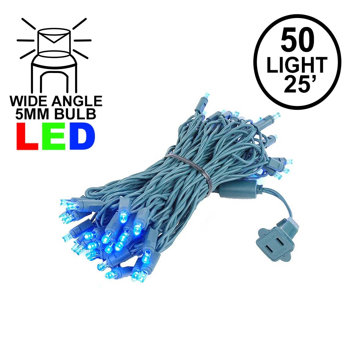 UL Listed LED Clear Green Wire Christmas String Lights Twinkle 5MM Mini 50L Sets