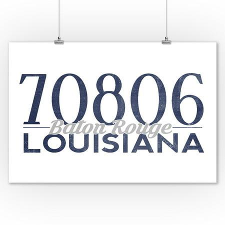 Baton Rouge, Louisiana - 70806 Zip Code (Blue) - Lantern Press Artwork (9x12 Art Print, Wall Decor Travel Poster)
