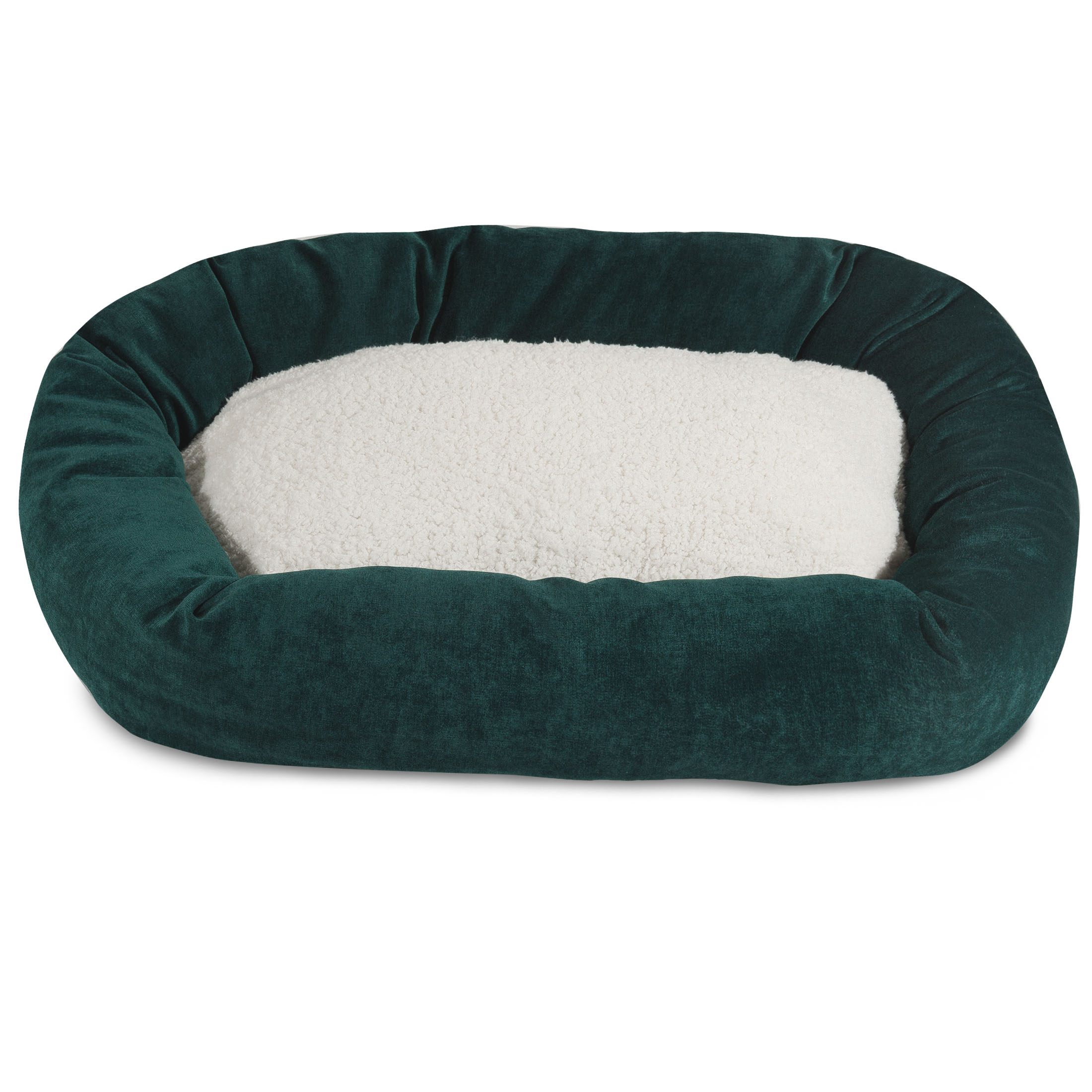 "Majestic Pet Villa Sherpa Bagel Dog Bed Machine Washable Marine Large 40"" x 29"" x 9"""
