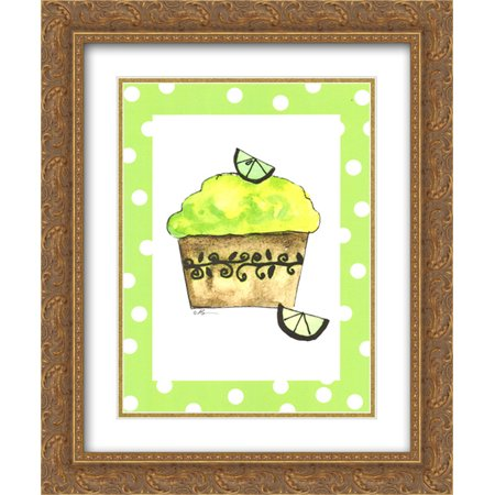 Key Lime Cupcake 2x Matted 15x18 Gold Ornate Framed Art Print by Serena - Ornate Key