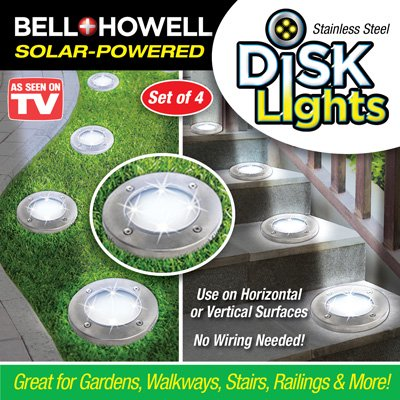 Bell & Howell Solar Round Disk Lights Stainless Steel Set of 4 SOLAR POWERED
