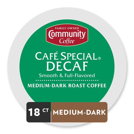 Community Coffee Café Special Decaf Medium Dark Roast Single Serve, 18 Ct Box, Compatible with Keurig 2.0 K Cup Brewers, Medium Full Body Smooth Bright Taste, 100% Arabica Coffee Beans 18 Count