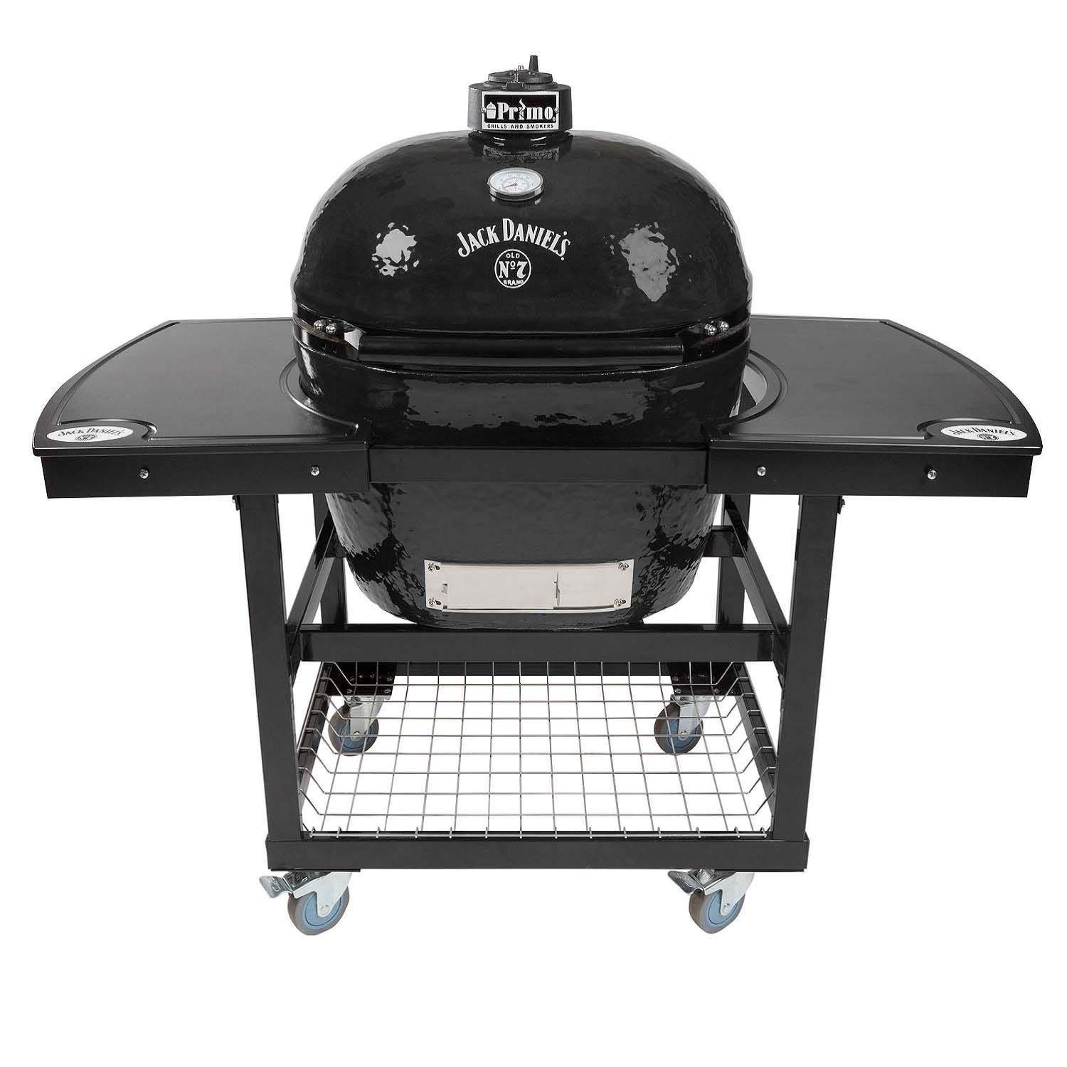 Primo Oval XL 400 Ceramic Smoker Grill Jack Daniel's Edition On Cart with 1-Piece Jack Daniel's Island Top by