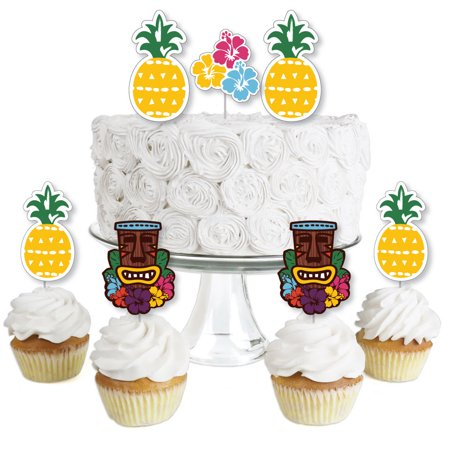 Tiki Luau - Dessert Cupcake Toppers - Tropical Hawaiian Summer Party Clear Treat Picks - Set of 24