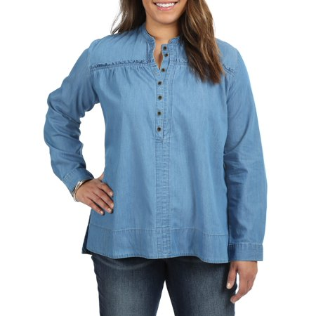 - Women's Plus Long Sleeve Peasant Shirt