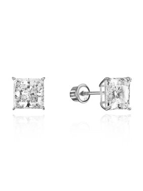 2be71584b Product Image 10k White Gold 5mm Basket Princess Cut CZ Cubic Zirconia  Children Screw Back Baby Girls Earrings