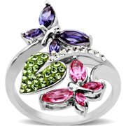 Sterling Silver Nature Ring made with Swarovski Elements
