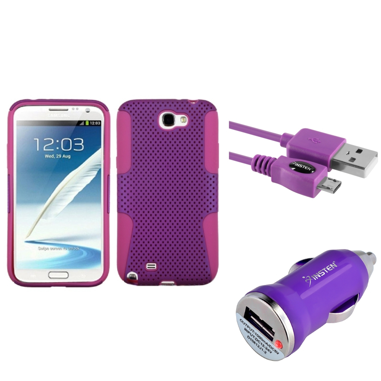 Insten H-Pink/Purple Hybrid Case 6FT USB Cord Car Charger For Samsung Galaxy Note 2