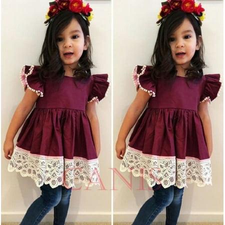 Boutique Toddler Kids Girls Silk Lace Dress Ripped Jeans Denim Outfits Set 1-6T (Children Boutique Clothes)