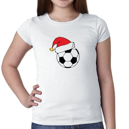 Santa Hat on Soccer Ball - Christmas Holiday Girl