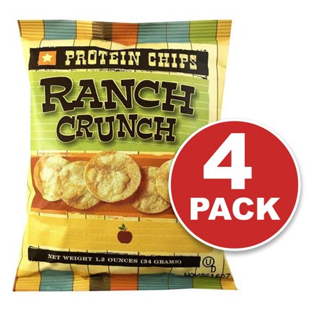Protein Chips, Ranch, Low Carb Snack, Low Carb Chips, Keto-Friendly, High Fiber, 4 Pack