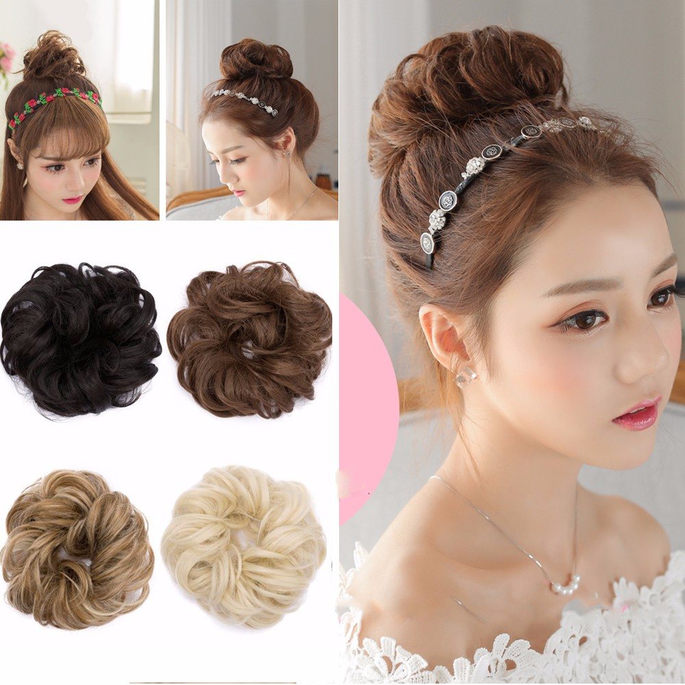 S-noilite Hair Buns extension Synthetic Hair Curly Wavy Bun Hair Styling Accessory Hairpiece Wigs Elegant chignon Hair Scrunchies Extensions(ash brown )