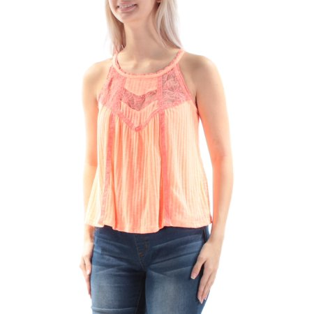 AMERICAN RAG Womens Coral Lace  Daisy Trim Spaghetti Strap Scoop Neck Top Juniors  Size: S