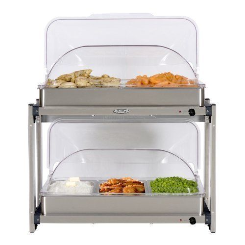 BroilKing Professional Multi-Level Buffet Server w/ Stainless Base & Rolltop Lid