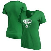 FC Dallas Fanatics Branded Women's St. Patrick's Day White Logo Plus Size V-Neck T-Shirt - Kelly Green