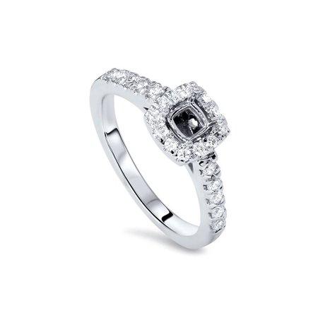 1/2ct Womens Cushion Halo Diamond Ring Semi Mount 14K White Gold