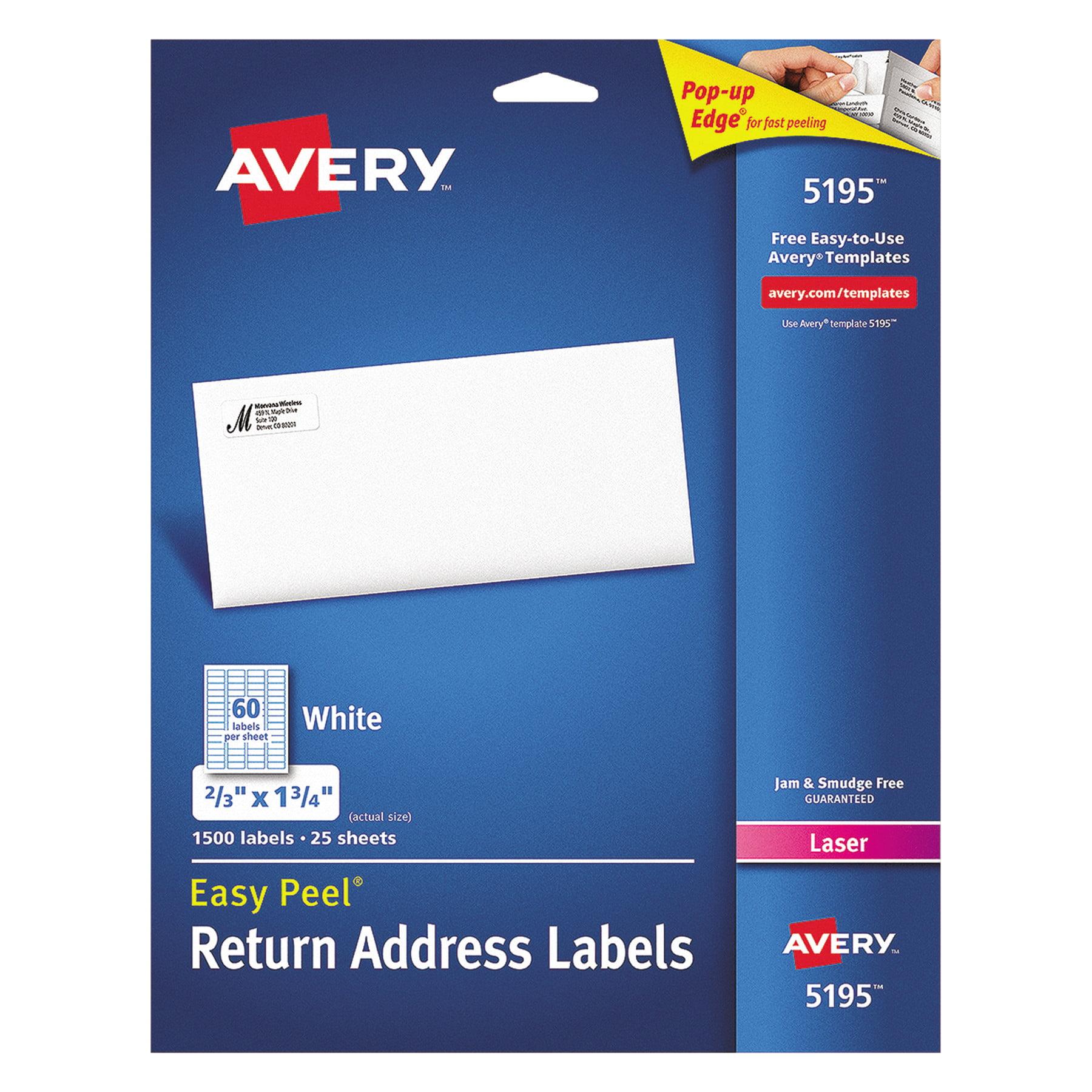 Avery Easy Peel Mailing Address Labels Laser 23 X 1 34 White