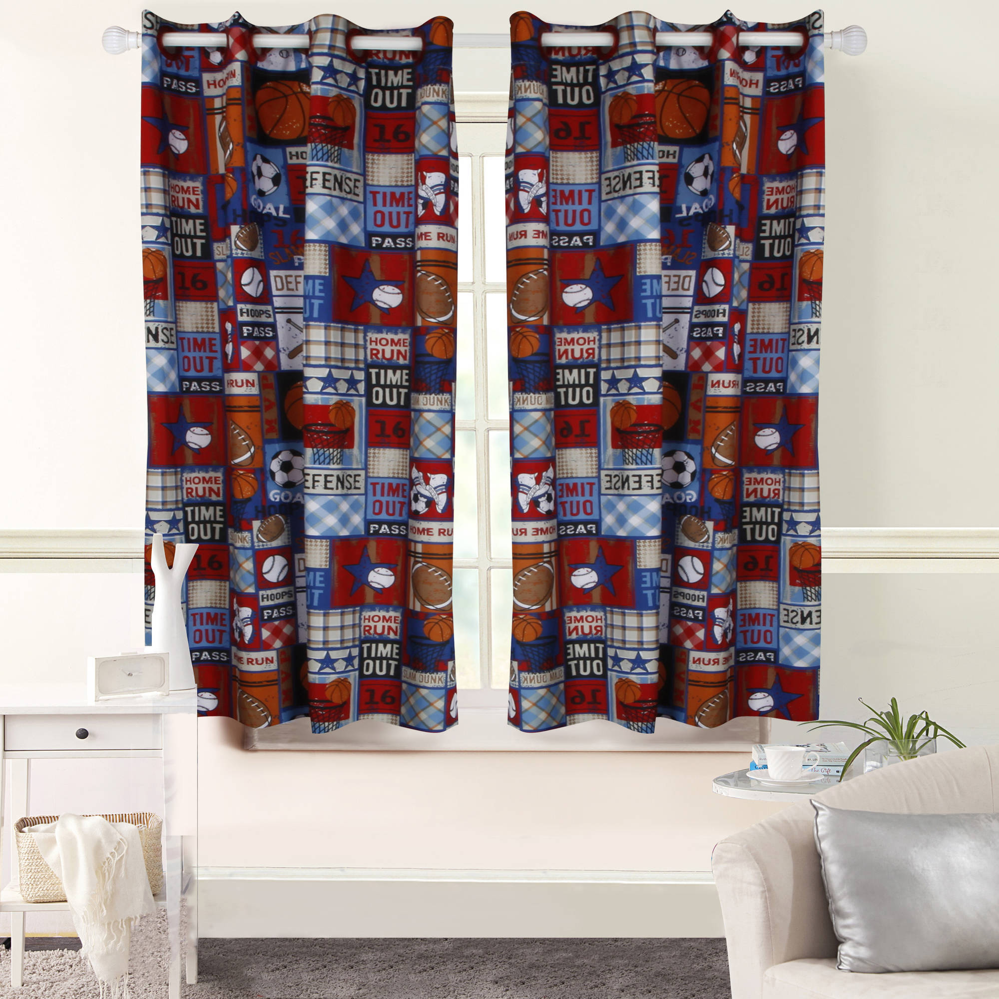 Mainstays Grommet Foamback Sports Patch Boy's Bedroom Curtain Panel by Keeco LLC