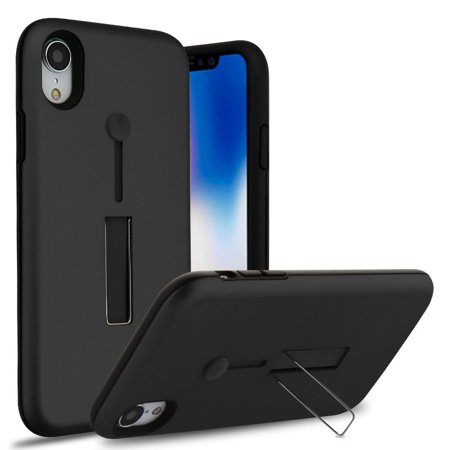 Apple iPhone XR Case, by Insten Finger Grip Hard Plastic/Soft TPU Rubber Dual Layer [Shock Absorbing] Hybrid Case Cover w/Stand For Apple iPhone XR