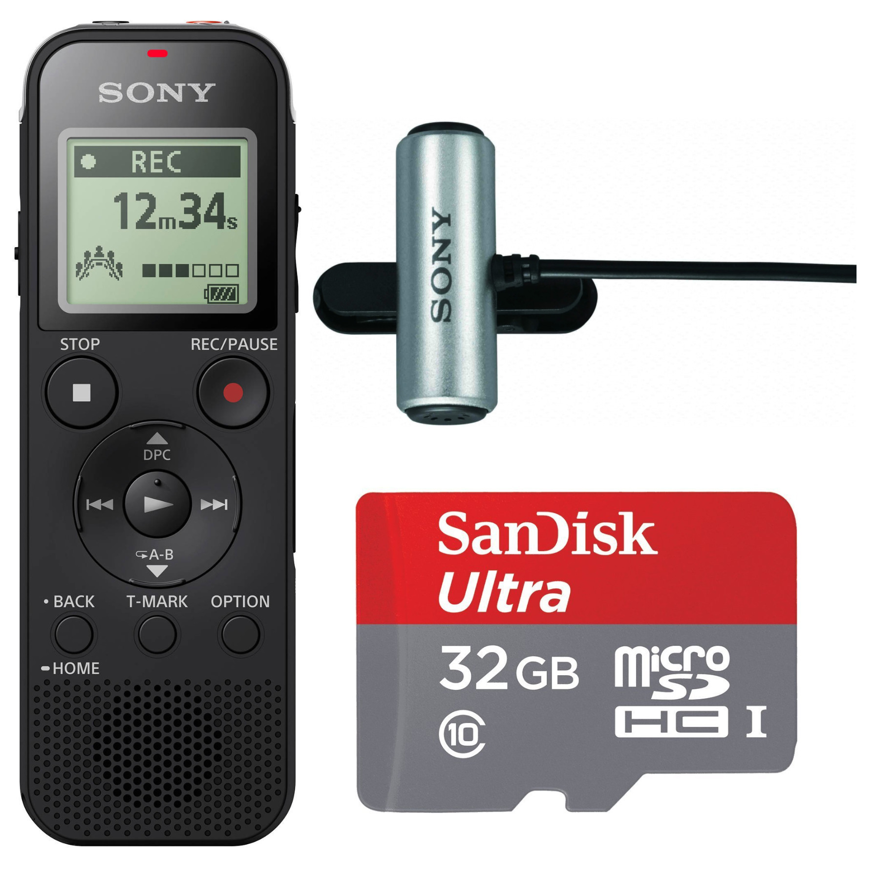 Sony Digital Voice Recorder with Built-in Stereo Mic and 32GB Card Bundle