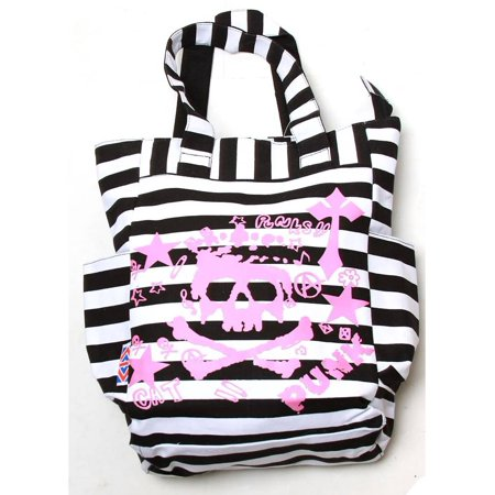 Clover Tote Pockets Style Hand Bag - Striped White and Black Punk Graffiti Art Pattern