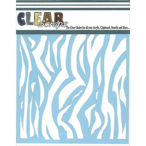 """Clear Scraps Stencils, 12"""" x 12"""", Zebra"""