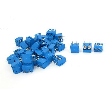 Unique Bargains 40 Pcs 2 Pin 5mm Pitch PCB Mount Screw Terminal Block Blue  300V 10A