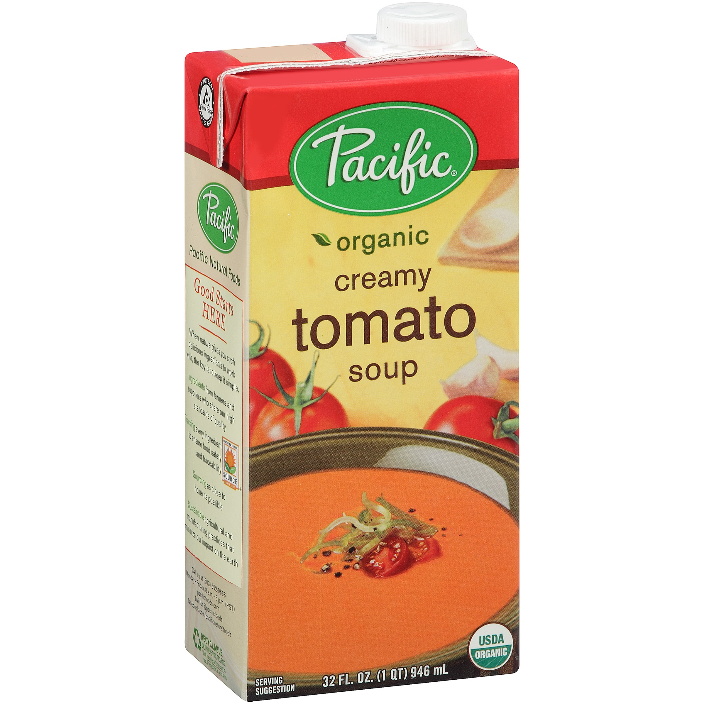 (2 Pack) Pacific Foods Light Sodium Creamy Tomato Soup, Organic, 32-Ounces