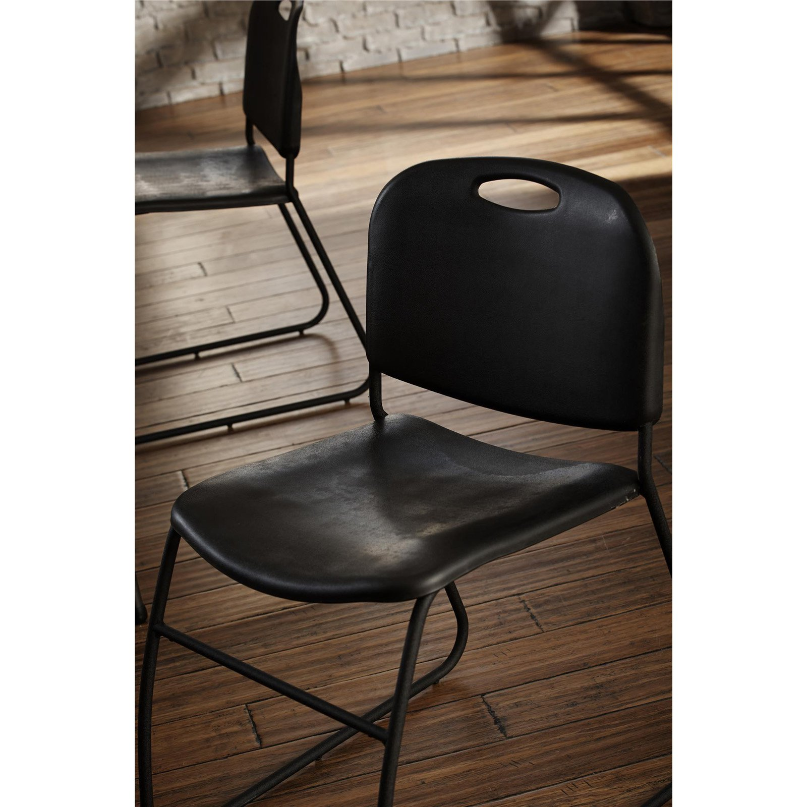 COSCO Commercial Contoured Back Resin Stacking Chair, Black, 4 Pack
