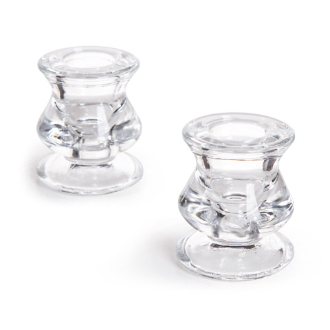 Darice Candle Holder - Clear Glass - 2.25 inches - 2 pieces