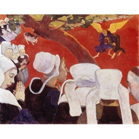 Posterazzi SAL900107020 Vision after the Sermon Jacob Wrestling with the Angel 1888 Paul Gauguin 1848-1903 French Oil on Canvas National Gallery of Scotland Edinburgh Scotland Poster Print