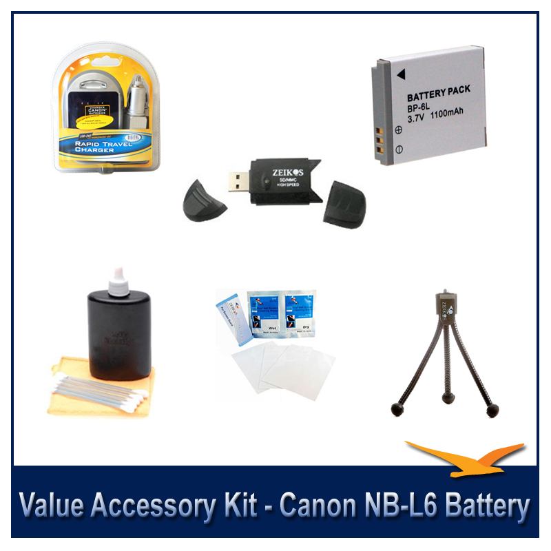 NB-6L Battery & Rapid Charger Kit 6 pc Kit Table-top tripod 3pc Lens Cleaning Set USB Card Reader Screen Protectors Canon Powershot SD4000 SX260 D10 SX280HS SX500IS 500HS SX500 S95